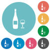 Wine bottle and glass flat round icons - Wine bottle and glass flat white icons on round color backgrounds