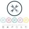 Two wrenches flat color icons in round outlines - Two wrenches flat color icons in round outlines. 6 bonus icons included.