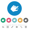 Left handed move down gesture flat round icons - Left handed move down gesture flat white icons on round color backgrounds. 6 bonus icons included.