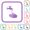 Hand washing simple icons - Hand washing simple icons in color rounded square frames on white background