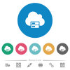 Cloud storage flat round icons - Cloud storage flat white icons on round color backgrounds. 6 bonus icons included.