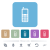 Retro mobile phone flat icons on color rounded square backgrounds - Retro mobile phone white flat icons on color rounded square backgrounds. 6 bonus icons included