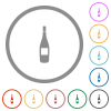 Wine bottle with label flat color icons in round outlines on white background