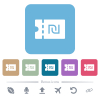 New Shekel discount coupon white flat icons on color rounded square backgrounds. 6 bonus icons included - New Shekel discount coupon flat icons on color rounded square backgrounds