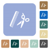 Comb and scissors white flat icons on color rounded square backgrounds - Comb and scissors rounded square flat icons