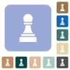 Black chess pawn rounded square flat icons - Black chess pawn white flat icons on color rounded square backgrounds