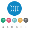Set of wrenches flat round icons - Set of wrenches flat white icons on round color backgrounds. 6 bonus icons included.
