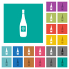 Wine bottle with grapes square flat multi colored icons - Wine bottle with grapes multi colored flat icons on plain square backgrounds. Included white and darker icon variations for hover or active effects.
