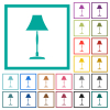 Standing lampshade flat color icons with quadrant frames on white background - Standing lampshade flat color icons with quadrant frames