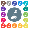 Hand washing flat white icons on round color backgrounds - Hand washing flat white icons on round color backgrounds. 17 background color variations are included.