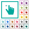 Right handed move left gesture flat color icons with quadrant frames - Right handed move left gesture flat color icons with quadrant frames on white background
