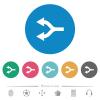 Split arrows left flat round icons - Split arrows left flat white icons on round color backgrounds. 6 bonus icons included.