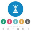 Black chess queen flat round icons - Black chess queen flat white icons on round color backgrounds. 6 bonus icons included.