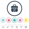 Toolbox flat color icons in round outlines - Toolbox flat color icons in round outlines. 6 bonus icons included.