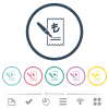 Signing Lira cheque flat color icons in round outlines. 6 bonus icons included. - Signing Lira cheque flat color icons in round outlines