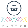 Car rental flat color icons in round outlines. 6 bonus icons included. - Car rental flat color icons in round outlines