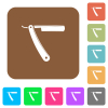 Straight razor flat icons on rounded square vivid color backgrounds. - Straight razor rounded square flat icons