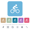 Bicycle with rider flat icons on color rounded square backgrounds - Bicycle with rider white flat icons on color rounded square backgrounds. 6 bonus icons included