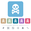 Skull with bones white flat icons on color rounded square backgrounds. 6 bonus icons included - Skull with bones flat icons on color rounded square backgrounds