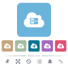Cloud storage flat icons on color rounded square backgrounds - Cloud storage white flat icons on color rounded square backgrounds. 6 bonus icons included