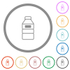 Water bottle with label flat icons with outlines - Water bottle with label flat color icons in round outlines on white background
