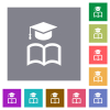 Graduation cap with book square flat icons - Graduation cap with book flat icons on simple color square backgrounds