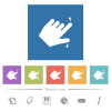 Left handed pinch open gesture flat white icons in square backgrounds - Left handed pinch open gesture flat white icons in square backgrounds. 6 bonus icons included.