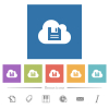 Cloud storage flat white icons in square backgrounds - Cloud storage flat white icons in square backgrounds. 6 bonus icons included.