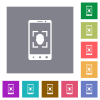 Mobile face detection flat icons on simple color square backgrounds