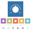 Volume control with captions flat white icons in square backgrounds. 6 bonus icons included. - Volume control with captions flat white icons in square backgrounds