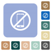 Smartphone not allowed rounded square flat icons - Smartphone not allowed white flat icons on color rounded square backgrounds