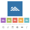 Brick wall and trowel flat white icons in square backgrounds - Brick wall and trowel flat white icons in square backgrounds. 6 bonus icons included.