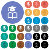 Graduation cap with book round flat multi colored icons - Graduation cap with book multi colored flat icons on round backgrounds. Included white, light and dark icon variations for hover and active status effects, and bonus shades.
