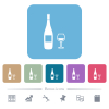 Wine bottle and glass flat icons on color rounded square backgrounds - Wine bottle and glass white flat icons on color rounded square backgrounds. 6 bonus icons included