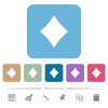 Diamond card symbol white flat icons on color rounded square backgrounds. 6 bonus icons included - Diamond card symbol flat icons on color rounded square backgrounds