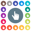 right handed pointing gesture flat white icons on round color backgrounds. 17 background color variations are included. - right handed pointing gesture flat white icons on round color backgrounds
