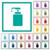 Liquid soap flat color icons with quadrant frames - Liquid soap flat color icons with quadrant frames on white background