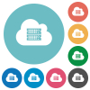 Cloud servers flat white icons on round color backgrounds - Cloud servers flat round icons