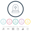 Tombstone with cross flat color icons in round outlines - Tombstone with cross flat color icons in round outlines. 6 bonus icons included.