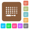 Set of screwdriver bits rounded square flat icons - Set of screwdriver bits flat icons on rounded square vivid color backgrounds.