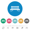 Park bench flat round icons - Park bench flat white icons on round color backgrounds. 6 bonus icons included.