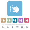 Right handed scroll up gesture flat icons on color rounded square backgrounds - Right handed scroll up gesture white flat icons on color rounded square backgrounds. 6 bonus icons included