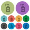 Hand sanitizer color darker flat icons - Hand sanitizer darker flat icons on color round background