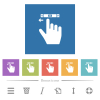right handed scroll left gesture flat white icons in square backgrounds - right handed scroll left gesture flat white icons in square backgrounds. 6 bonus icons included.
