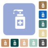 Hand sanitizer rounded square flat icons - Hand sanitizer white flat icons on color rounded square backgrounds