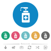Hand sanitizer flat round icons - Hand sanitizer flat white icons on round color backgrounds. 6 bonus icons included.