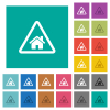 Home quarantine square flat multi colored icons - Home quarantine multi colored flat icons on plain square backgrounds. Included white and darker icon variations for hover or active effects.