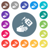 Hand washing with hand sanitizer flat white icons on round color backgrounds - Hand washing with hand sanitizer flat white icons on round color backgrounds. 17 background color variations are included.