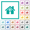 Home quarantine flat color icons with quadrant frames - Home quarantine flat color icons with quadrant frames on white background