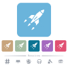 Rocket flat icons on color rounded square backgrounds - Rocket white flat icons on color rounded square backgrounds. 6 bonus icons included
